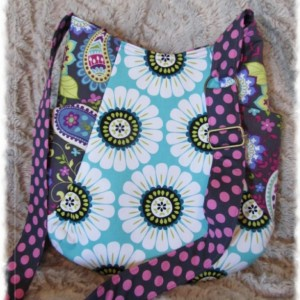 Paisley Daisy 241 Tote Ready to Ship Adjustable Strap Purse Handbag Floral Purple Gray White Aqua Dot