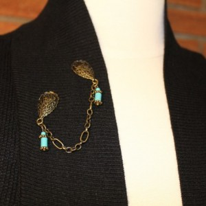 Turquoise and Bronze Sweater Clips