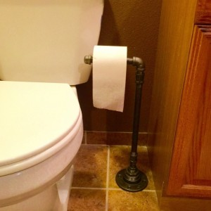 Toilet Paper Holder Made out of Black Pipe, Free Standing Floor Stand