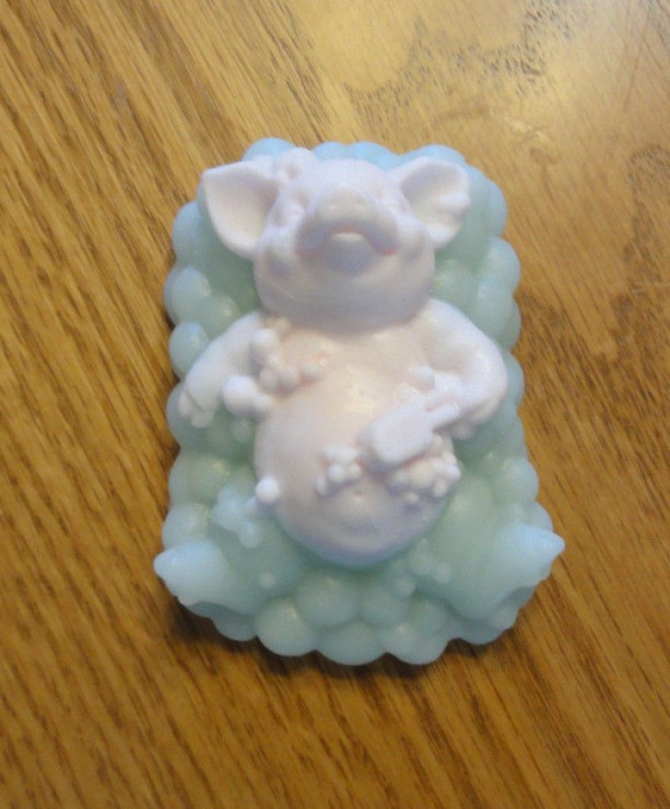 Pig in Bath Decorative Soap Pink Blue