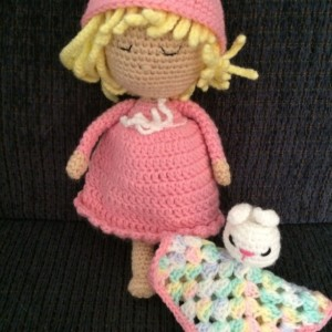 Hand crocheted  Doll - Pink Dress with Bunny Security Blanket