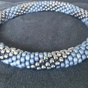 Handmade Beaded Denim and Silver Swirl Necklace for MED/LARGE dogs