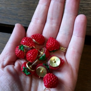 Red Strawberry Pushpins (Set of 10), Thumbtacks, Cork board, Locker, Cubicle, Desk, Home Office, Tacks