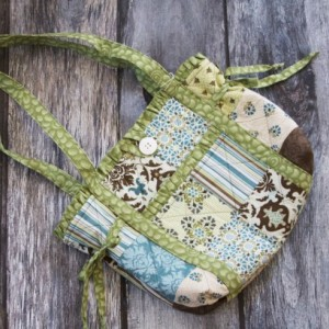 Blue, Green and Brown Patchwork Hand Sewn Diaper Tote Bag