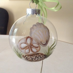 Ornament,  glass,  sea shell, hand painted