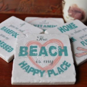 Beach Theme Marble Coasters. Ideal for Wedding, Anniversary, Birthday, Christmas, Valentine's Day, Hobby Coasters, Unique Gift. Handmade.