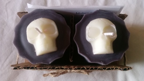 Set of two handmade 2.5 oz soy wax skull votive candles
