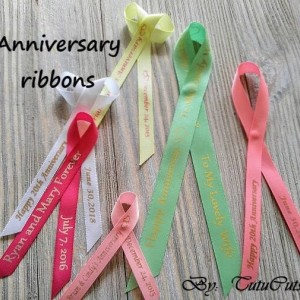 10 Anniversary Personalized Ribbons 3/8 inches wide  (unassembled)