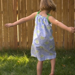 Pillowcase dress with removable butterfly