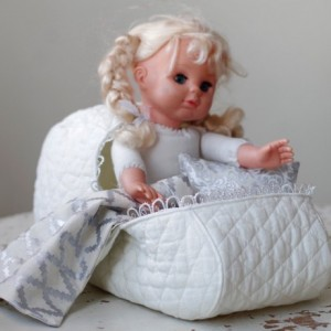 Pattern #2 Doll bassinet carrier of quilted cotton with pillow and blanket