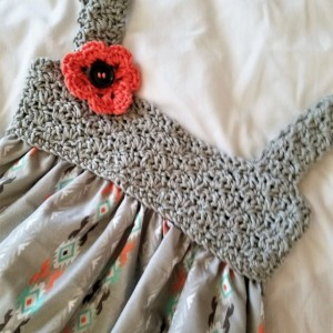 Exclusively Yours-Handmade Girl Dresses-Fits size 3T-4T, Hand Crocheted Designed Bodice Dress Summer Style only one available!