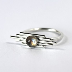 Labradorite Winged Gemstone Ring