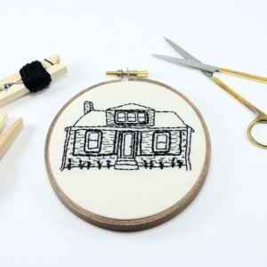 "6"" Custom Embroidery House Portrait"