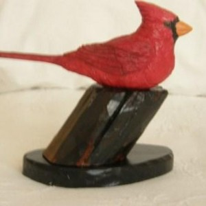 Hand Carved and Painted Wooden Bird - Cardinal