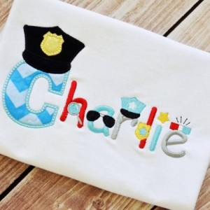 Policeman Theme Applique Shirt * Choose Initial Only, Initial with Name or Birth Number * Personalized Embroidery