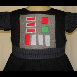 Star Wars Darth Vader Inspired Princess Dress(-----)Appliqued Panel Buttons(-----)Sizes 18 Months-Girls size 8