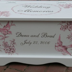 Pink and Brown Aviary Toile Wedding Keepsake Chest Memory Box personalized wedding gift