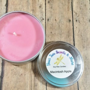 Macintosh Apple Scented Soy Candle, Soy Wax Candle, Handmade Candle, Natural Soy Candle, Vegan Candle, Eco Friendly Candle, 8 Oz Candle Tin