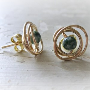 Gold Stud Earrings, Tree Agate Posts, Natural Stone Studs, Wire Wrap Earrings, Green White Studs, Small Stud Earrings, Green Stone Posts