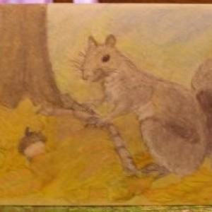 Autumn Harvest Greeting Card, Colored Pencil Drawing
