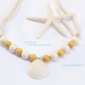 Beach Necklace, Mustard and Creme Wood Beads and Miami Seaschell