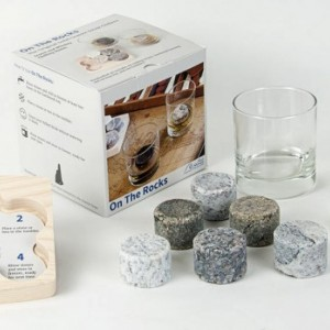 Sea Stones On The Rocks Solid Granite Whiskey and Scotch Chillers, Barware, Gift Set, Freezer to Table, Whiskey Glasses, Chilling Stones