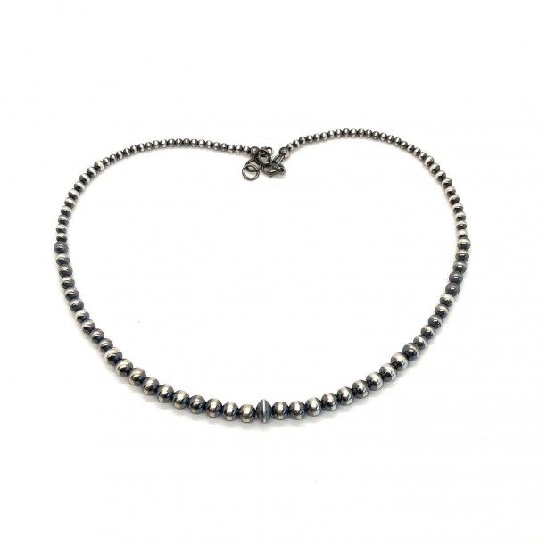 Oxidized Sterling Silver Beaded Necklace