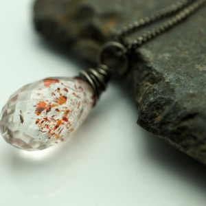 Lepidocrosite Faceted Teardrop Briolette and Sterling Silver Necklace - Vampire Tears