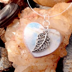 For the Love of the Craft Mixed Media Pink Silver Leaf Heart Charm Pendant