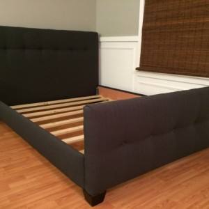 Low profile upholstered headboard and bed frame