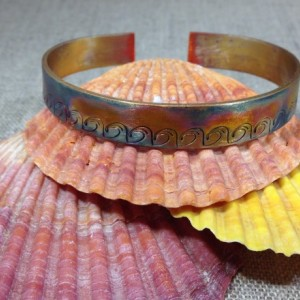 Hand Stamped Wave Fire Patina Wave Cuff Bracelet