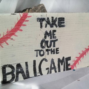 Baseball Sign - Take me out to the Ball Game wooden sign - Handpainted baseball wall decor - Rustic Sport sign - reclaimed wood painted sign