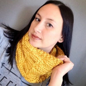 Knit Cowl Scarf Golden Yellow Scarf Bohemian Cowl