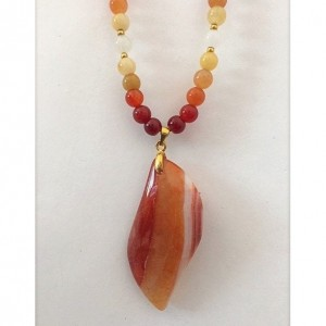 Vibrant Orange, Red, Yellow Carnelian Necklace, Carnelian Pendant