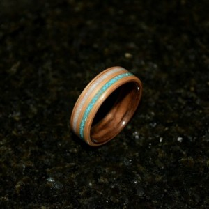 Ready to ship size 8.75 (Bentwood method ) Black Walnut with White Oak with a double inlay of Chrysicholla and Mother Of Pearl.