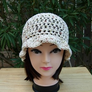 Light Natural Brown Beige Summer Hat with Wavy Brim, 100% Cotton Lacy Women's Crochet Knit Lightweight Beach Sun, Ready to Ship in 3 Days