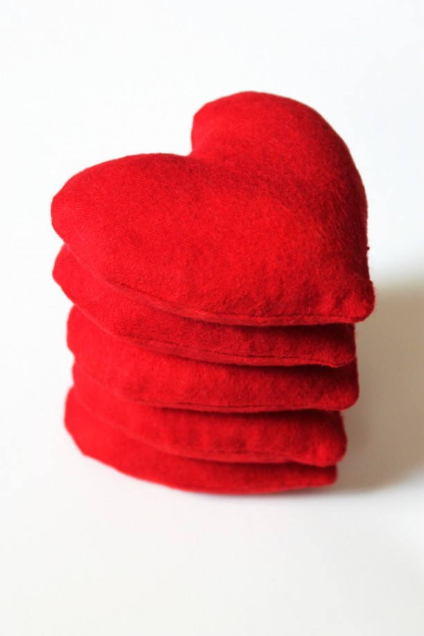 Crimson Red Heart Shaped Bean Bags Set Of 5 Aftcra
