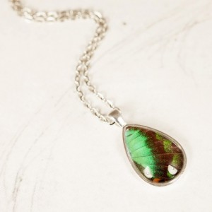 Real Butterfly Jewelry - Real Butterfly Wing Necklace - Emerald Pendant - May Birthstone - Gift for Her - Tear Drop Pendant