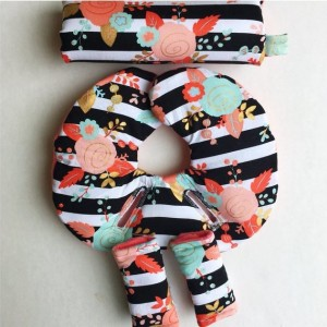 Car Seat Head Support, Floral, Black and White Stripes,Coral, Infant Head Support, Strap Covers, Car Seat Arm Pad, Newborn Head Protector