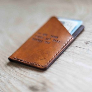 Mens Custom Leather Wallet, Minimalist Wallet, Groomsmen Gift (Tan Color)