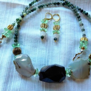 Moss Agate Necklace with focal grey agate faceted nuggets, moss opalite stone and matching earrings set.#NBES0106