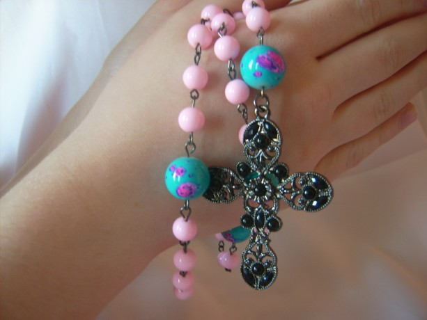 Rosary Beads - Pink with Blotched Blue