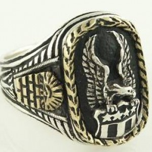 American Eagle 10 karat Gold Wreath mens sterling silver signet ring