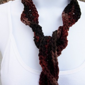 Dark Brown, Taupe, Rust Skinny SUMMER SCARF with Twists Women's Small Soft Spiral Knit Narrow Lightweight Neck Tie, Ready to Ship in 2 Days