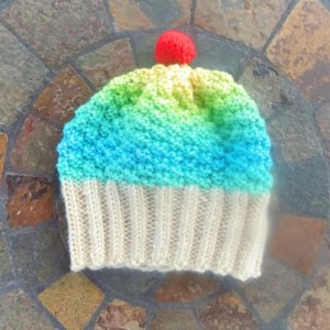Toddler Knit Cupcake Hat - Mermaid