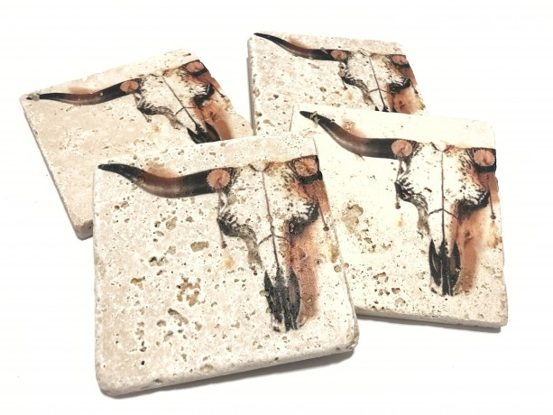 Coaster Set Rustic Longhorn Skull | Natural Stone | Set of 4 with Full Cork Bottom