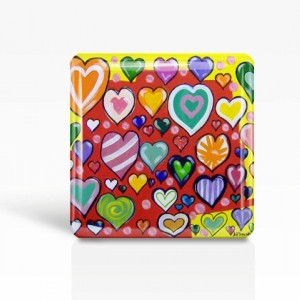 """Hearts - Glass MAGNET By Artist A.V.Apostle- 2""""x 2"""""""