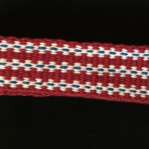 Inkle Loom Woven Red, White, and Blue Band .  100% Cotton. Item #22-195