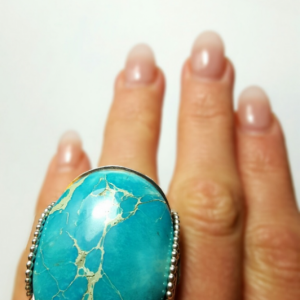 Handmade Variscite Ring Size 10.5 - 11.5 Sterling Silver Natural Turquoise Blue