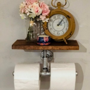 Double Roll Toilet Paper Holder & Shelf -- Extra Large Industrial, Rustic,  Farmhouse, Steampunk Bathroom Decor, Organization, and Storage